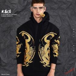 Menand039s Chinese Style Pattern Coat Embroidery Hoodie Japanese Dragon Coat Jacket Y