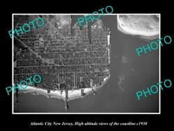 Old Postcard Size Photo Of Atlantic City New Jersey Aerial Of Coastline 1930