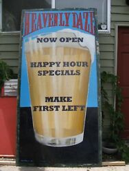 Vintage Heavenly Daze Microbrewery Hand Painted Craft Beer Advertising Sign