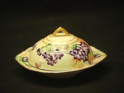Antique Oandeg Royal Austria Round Covered Butter Dish Hand Painted Purple Violets