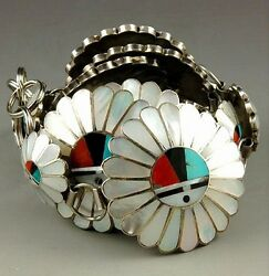 Vintage Old Pawn Zuni Concho Belt Sterling Silver Multi-gems Inlay Sunface Links