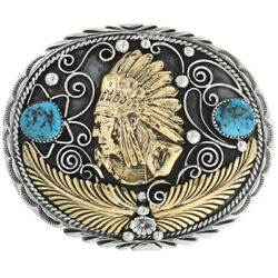 Turquoise Silver Gold Belt Buckle Indian Chief Head Southwest Native Style Lrg