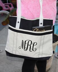 Personalized bag with monogram Heavy tote bag zippered Heavy canvas $21.95