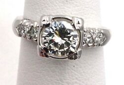 Vintage 1950and039s 14k White Gold .87tcw Diamond Engagement Ring Vs2 J Size 4.5