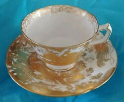 Royal Crown Derby Gold Aves Pattern English Bone China Footed Tea Cup And Saucer