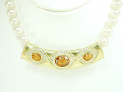 2655 Sale Enhancer For Pearl Necklace 18k Yellow Gold 2.25ct Diamond And Gem Stone