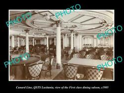 Old Postcard Size Photo Of Cunard Line Qsts Lusitania 1st Class Dining 1905 1