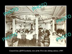 Old Postcard Size Photo Of Cunard Line Qsts Lusitania 1st Class Dining 1905 2