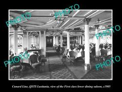 Old Postcard Size Photo Of Cunard Line Qsts Lusitania 1st Class Dining 1905 3