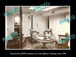 Old Postcard Size Photo Of Cunard Line Qsts Lusitania Officiers Room C1905