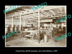 Old Postcard Size Photo Of Cunard Line Qsts Lusitania The Kitchen 1905