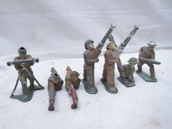 Lot Early Barclay Manoil Wwii Toy Lead Soldiers Rocket Launcher Missile Sniper E