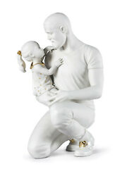 In Daddyand039s Arms Figurine. White And Gold Lladro 01009392