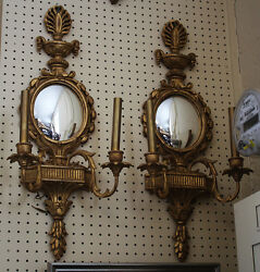 Beautiful Pair French Gilded Carved Wood Convex Mirror Sconces Gilded Italian