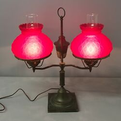 Beautiful Vintage Or Antique Double Student Hurricane Lamp Ruby Red Fenton Shade