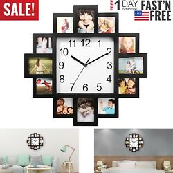 Photo Frame Clock Picture Collage 12 P Display Wall Clock Photowall Home Decor