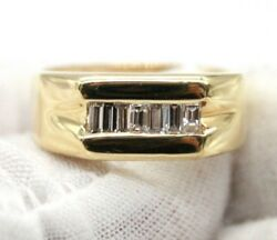 14k Yellow Gold Men`s Wedding Band With Channel Set Baguette Diamonds.size 10.75