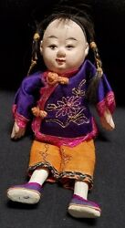 Antique Composition Chinese Boy Doll In Cotton Clothes - 7