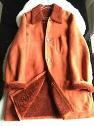 HERMES Real Mouton Fur Long Coat Orange Brown Men's Outer Gorgeous size S Y72A