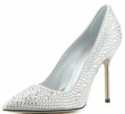 $1685 New Manolo Blahnik BB CRY 105 Silver CRYSTALS JEWELED  Pumps Wedding 40.5