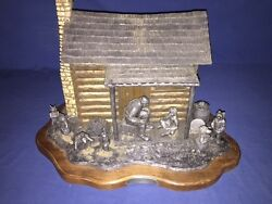 Rare Large Size 1990 Michael Ricker Pewter Mountain Cabin And Figures