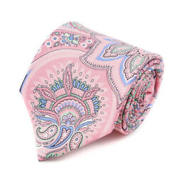 New 230 Isaia Napoli Light Pink And Sky Blue Intricate Paisley Print Silk Tie