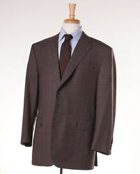 NWT $4495 OXXFORD HIGHEST QUALITY Brown Glen Check Wool Suit 44 S Slim-Fit