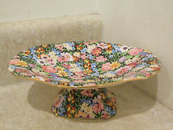 Royal Winton Grimwades Balmoral Black Chintz Porcelain Footed Compote Candy Dish
