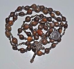 Antique Job's Tears Seeds Catholic Rosary Signed Handmade Sterling Crucifix