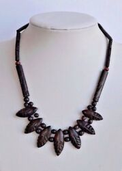 Vintage Hawaiian Black Coral Necklace With Elaborated Hand Carved Leafs Beads