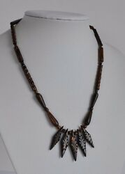 Vintage Hawaiian Black Coral Necklace With Elaborated Hand Carved Beads