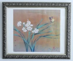 Very Rare Chinese Artist David Wang Framed Rice Paper Gold Butterfly Print