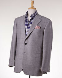 NWT $3295 OXXFORD HIGHEST QUALITY Light Gray Check Wool-Cashmere Sport Coat 42 R