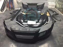 Car Wide Bodykit Exterior+Hood+Bumper Plate Board Replace For Audi R8 2007-2012