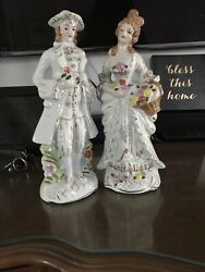Vintage Figurines French Couple Man and Woman Colonial Flowers amp; Gold Accents