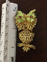Andrew Gates Vintage 18k Yellow Gold Owl Brooch/pin W Enamel And Ruby Eyes