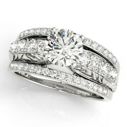 2.75 Ct Round Moissanite Forever One Wide Pave Band Engagement Wedding Ring New