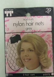 Vintage Hair Nets Nylon Non-run Pack Of 3 Grey Unique Old Items Nice