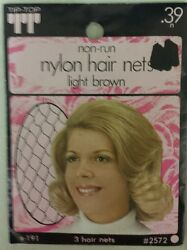 Vintage Hair Nets Nylon Non-run Pack Of 3lt. Brown Unique Old Items Nice