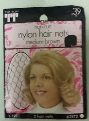 Vintage Hair Nets Nylon Non-run Pack Of 3med Brown Unique Old Items Nice