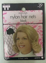 Vintage Hair Nets Nylon Non-run Pack Of 3 Black  Unique Old Items Nice