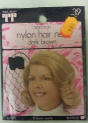 Vintage Hair Nets Nylon Non-run Pack Of 3drk Brown Unique Old Items Nice
