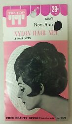 Vintage Hair Nets Nylon Non-run Pack Of 3 Lt. Gray Unique Old Items Nice
