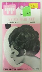Vintage Hair Nets Nylon Non-run Pack Of 3 White  Unique Old Items Nice