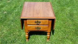 Ethan Allen Vintage American Traditional Maple Twin Drop Leaf 2 Drawer End Table