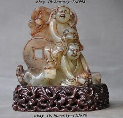 A 9chinese Natural Hetian Jade Hand-carved Immortal Liu Hai Toad Wealth Statue