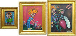 """Three Original Paintings, """"the Devil Triptych"""" Oil On Canvas By Ken Sampson"""