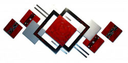 Wall Sculpture- Essentially Red 3 Pc Wood And Metal Wall Hangings - 90x41 Art69