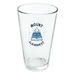 Mount Cleverest Reading Book Funny Novelty 16oz Pint Drinking Glass Tempered