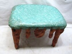 Vintage Cyprus Wood Arts And Crafts Foot Stool Bench Rest Driftwood Home Decor